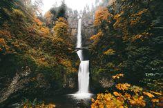 "entrancing-autumn: ""Autumn embraces Multnomah Falls, Oregon instagram | flickr | lost lust supply """