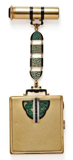 Compact & Lipstick Case; Art Deco, French, 18K Gold & Platinum, Jade & Enamel, Onyx & Diamond, 6 inch.