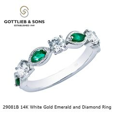 Make them #green with envy with this 14K White Gold Emerald and Diamond Ring. This delightful ring features a center diamond and  alternating #emeralds and #diamonds all set into a white gold band. Ask for style number 29081B.