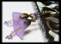 Vintage Blossoms... Handmade Jewelry Earrings Beaded Matte Lucite Flower Crystal Dangle Purple Lavender Lilac Amethyst  Antique Brass Leaf