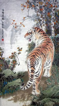 Page 4 Buy Chinese tiger paintings & scrolls from China. Save compared to your local store by good tiger painting artists. Japanese Painting, Chinese Painting, Japanese Art, Chinese Tiger, Asian Tigers, Tiger Painting, Chinese Drawings, Painting Gallery, China Art