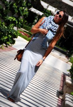 Long maxi tank dress, denim vest, and scarf