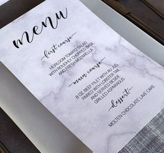 Faux marble menu templates for only $5 ... Instantly download, customize and print at home for an easy wedding, dinner party or summer soiree DIY!