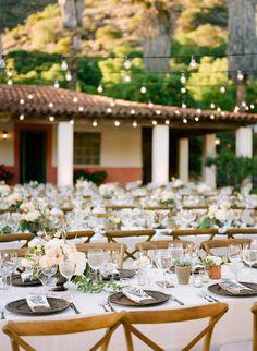 outdoor wedding string lights