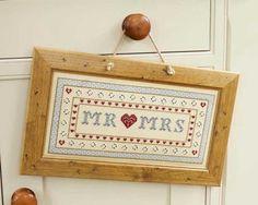Loving the polka dot border on this Mr and Mrs Wedding Sampler Cross Stitch Kit