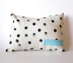 Hand-printed polka dot pillow