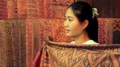 Vanny displays one of her ikat designs. IKTT in Siem Reap, Cambodia.    #SuenoDocFilms