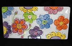 Items similar to CrAzY DaSiEs Rectangle Serving Platter on Etsy Pottery Painting Designs, Pottery Designs, Pottery Ideas, Pottery Plates, Ceramic Pottery, Pottery Art, Hand Painted Pottery, Hand Painted Ceramics, China Painting