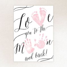 Love You To The Moon Baby Keepsake dyi fathers day gifts, fathers day crafts for preschoolers, first fathers day gift ideas from baby Baby Footprint Crafts, Baby Crafts, Toddler Crafts, Crafts To Do, Crafts For Babies, Mothers Day Crafts For Kids, Fathers Day Crafts, Valentine Day Crafts, Valentines