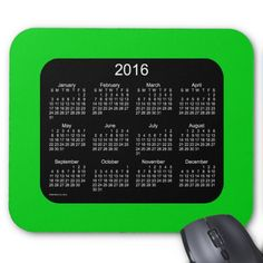 2016 Lime Green Calendar by Janz Mousepad