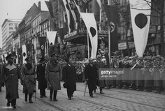 Berlin is decorated in duel Japanese and German flags while a ceremonial welcome is given in front of the Anhalter Bahnhof in Berlin's Saarlandstrasse upon the arrival of the foreign minister of the Japanese Empire Hiroshi Oshima, part of a diplomatic assignment. March 26th, 1941.