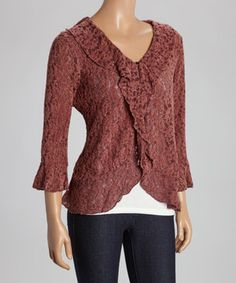 This Mocha Lace Three-Quarter Sleeve Cardigan by Anuna is perfect! #zulilyfinds