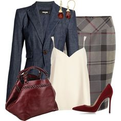 Skirt and Blazer by lbite1 on Polyvore featuring River Island, Dsquared2, Barbour, Gianvito Rossi and Caroline De Marchi