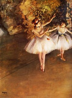 Two Dancers on Stage, 1877 by Edgar Degas. Impressionism. genre painting. Samuel Courtauld Trust, The Courtauld Gallery, London, UK