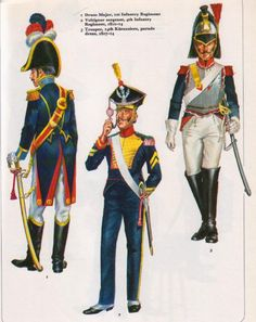 Duchy Of Warsaw; L to R 1st Infantry Regt, Drum Major; 4th Infantry Regt, Voltigeur Sergeant 1810-14 & 14th Cuirassiers 1807-14