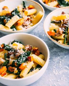 Recipe: Rigatoni with Winter Squash and Kale — Quick and Easy Vegetarian Dinners winter recipe;recipes for winter; Rigatoni Recipes, Pasta Recipes, Kale Recipes, Baking Recipes, Noodle Recipes, Pork Recipes, Italian Sausage Pasta, Sausage Rigatoni, Winter Dinner Recipes