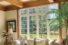 tall windows with transoms and coffered ceiling