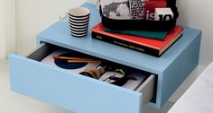Bedside tables, chests of drawers, tables and poufs | Complements to decorate and complete the room of your child or boy to the ground and suspended bedside tables, chest of drawers with tray tables and ottomans upholstered in removable fabric.