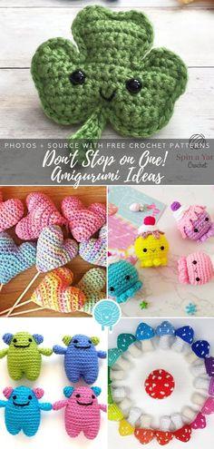 Amigurumi Ideas Free Crochet Patterns - Amigurumi patterns - Don't Stop on One! Amigurumi Ideas Free Crochet Patterns Don't Stop on One! Crochet Motif Patterns, Crochet Amigurumi Free Patterns, Crochet Keyring Free Pattern, Crochet Simple, Cute Crochet, Kawaii Crochet, Small Crochet Gifts, Crochet Mignon, Easy Crochet Projects