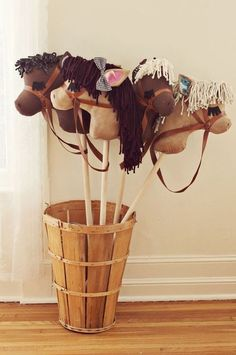DIY Dowel Riding Horse Tutorial from A Beautiful Mess here. I...