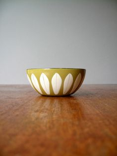 Tiny Cathrineholm Lotus Bowl  White on Mustard by luola on Etsy, $67.00