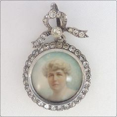 Superb Victorian French Paste  Picture Locket - pendant - Hand Painted