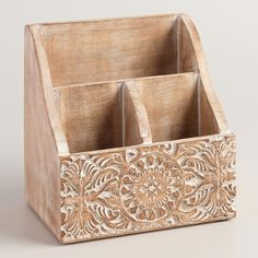 Elevate everyday office supplies with our three-compartment organizer, handcrafted in India with an intricately carved floral design and a subtle whitewash finish. www.worldmarket.com #WorldMarket Home Office