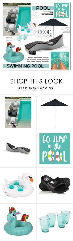 """Soak Up the Sun: Pool Party"" by cruzeirodotejo ❤ liked on Polyvore featuring interior, interiors, interior design, home, home decor, interior decorating, Sunbrella, Müller Möbelwerkstätten, Sur La Table and Superdry"