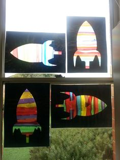Space craft à la stained glass windows Space Preschool, Space Activities, Preschool Themes, Preschool Activities, Preschool Rocket, Outer Space Crafts, Outer Space Theme, Earth And Space, Space Projects