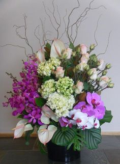 Orchids and white Hydrangea