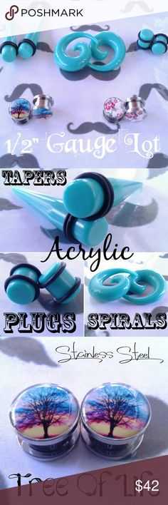 "1/2"" (12mm) Gauges, Tapers, Plugs, Spirals  Lot Includes:  Turquoise Acrylic Tapers. Turquoise Acrylic Plugs Turquoise Acrylic Spirals  Tree of Life S.Steel Screw Fit Gauges Floral S.Steel Screw Fit Gauges 8 Black Bands  All are Size 1/2 in (12mm)   Brand New Never Worn. They will be sanitized before Shipping out.  No Lowballing please! Open to a reasonable offer only.  TAGS: Gauges, Tapers, Plugs, Spirals, Tunnels Jewelry Earrings"