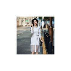 Tulle Panel Shirtdress (£38) ❤ liked on Polyvore featuring dresses, women, white dress, white tulle dress, sleeved dresses, white panel dress and long white shirt dress