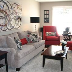 Love The Grey And Red Living Room
