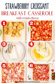 It's dessert and breakfast! This strawberry croissant breakfast casserole is laced with rich cream cheese, easy to assemble, and delicious to enjoy. Great for a birthday brunch, special occasion, or spring holiday. Croissant Breakfast Casserole, Breakfast Bake, Breakfast Recipes, Dessert Recipes, Easy Homemade Desserts, Cream Cheese Crescent Rolls, Birthday Brunch, Homemade Breakfast, Healthy Comfort Food
