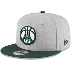 0d3543f8ebf72 Milwaukee Bucks New Era Adjustable Snapback Hat - Heathered Gray Hunter  Green
