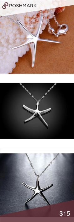 """NWOT Sterling Silver Starfish Pendant Necklace New without tags sterling silver plated Pendant and chain.   Delicate chain 17.75"""" length.   Starfish Pendant 1"""" tall and 1"""" wide. Jewelry Necklaces"""