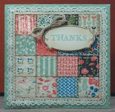 "handmade quilt card from Clearly Southern Stampin' ... i"" punched squares with sewing ... embedd with embossing folder texture ... luv the addition of crochet lace trim ... Stampin' Up!"