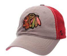 Men s Chicago Blackhawks Zephyr Gray Red Adjustable NHL Stratus Hat f2d0e71aedf2