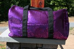 Personalized Dance Bag Girls Monogrammed Gym Bag Purple Sequins 6e3f9ce6e4834