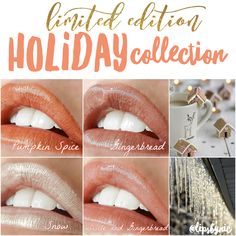 Limited Edition LipSense Holiday colors are here! Pumpkin Spice is a frosted earthy copper, Gingerbread is a shimmery light taupe, Snow is a glistening ivory that is great for wearing on top of other colors, and Icicle is Crystal Clear!!!! That means you can layer it with other colors to lighten them and make your own shades :) Lasts up to 18 hours, no smudging, vegan, gluten free, cruelty free, and so much fun! #lipstick #lipgloss #beauty #pumpkinspice #gingerbread #limited edition #gifts
