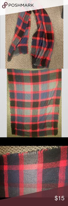 Plaid Warm Large Blanket Scarf by Mossimo Plaid Warm Large Blanket Scarf by Mossimo in Red Grey Navy and Black. Super cute!! Barely worn. Mossimo Supply Co Accessories Scarves & Wraps