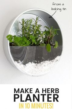 Make An Indoor Herb Planter In 10 Minutes! is part of Upcycled Crafts Garden Indoor Herbs - Baking tin herb planter repurpose some of your old baking tins and make this indoor herb planter for your kitchen You can do it in 10 mins!