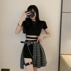 Gothic Fashion 847169379893439995 - Gothic Plaid Skirt Shorts Belt Chain Irregular Hollow Source by Kpop Fashion Outfits, Ulzzang Fashion, Edgy Outfits, Korean Outfits, Cute Fashion, Girl Outfits, Cute Outfits, Soft Grunge Outfits, Egirl Fashion