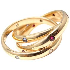Cartier Ruby Sapphire Diamond Yellow Gold Trinity Band Ring | From www.1stdibs.com € 2.480