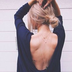 low back top + layered necklaces