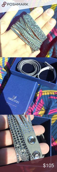 """Swarovski Slake Bracelet Set 2 slake wrap bracelets. Fit wrists up to 8.25"""" and below. Brand new in exclusive edition box. Box is for the warranty! Swarovski Jewelry Bracelets"""