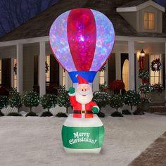 CHRISTMAS 12 FT LIGHT SHOW SANTA HOT AIR BALLOON AIRBLOWN INFLATABLE YARD DECOR