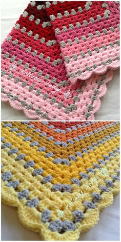 63 Ideas crochet baby blanket shell stitch granny squares for 2019 Crochet Borders, Afghan Crochet Patterns, Crochet Squares, Knitting Patterns, Crochet Afghans, Granny Squares, Crochet For Beginners Blanket, Baby Blanket Crochet, Crochet Blankets