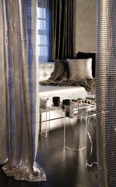 Glamorous room with metallic curtains