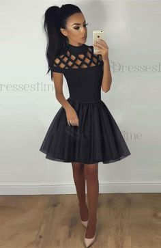 Chic fashion, short cute homecoming dresses, Cheap a-line fashion dresses, simple cut out dresses.